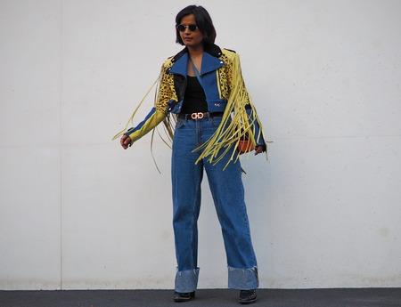 MILAN, Italy: September 20, 2018: Streetstyle outfits after PRADA fashion show during Milan Fashion week Fall winter 2018/2019