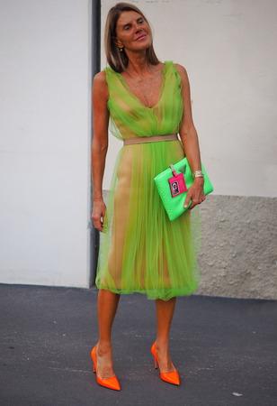 MILAN, Italy: September 20, 2018: ANNA DELLO RUSSO after PRADA fashion show during Milan Fashion week Fall winter 20182019
