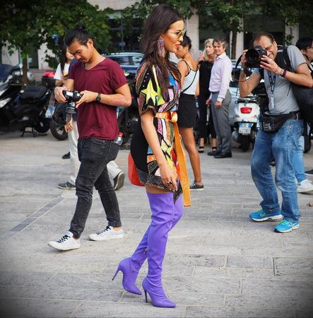 MILAN, Italy: 19 september 2018: Fashionable woman street style outfit before Alberta Ferretti fashion show during Milan fashion week Fall / winter 2018/2019.