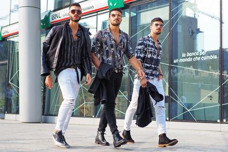 MILAN, Italy: 19 september 2018: Fashionable men street style outfit before Alberta Ferretti fashion show during Milan fashion week Fall / winter 2018/2019.
