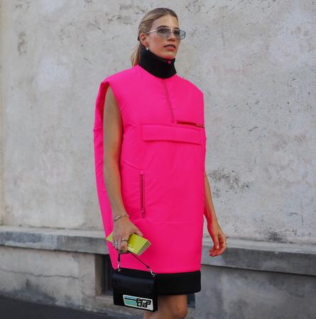 MILAN, Italy- SEPTEMBER 20: Fashion blogger in the street before the PRADA fashion show, during Milan Fashion Week fall winter 2019 on September 20, 2018. Editorial