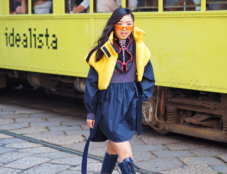 MILAN, Italy: September 21, 2018: Fashion blogger posing for photographers in the street before SPORTMAX fashion show during MFW fall / winter 2018/2019.