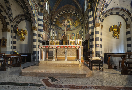 MILAN, Italy: August 31 2018: Interior church of Sant'Eufemia built from the 16th century, in neo-Romanesque and neo-Gothic style. Lombardy.