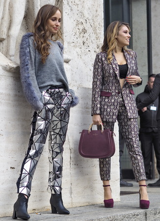 MILAN, Italy; 12 January 2019: Fashion blogger street style outfit before Frankie Morello fashion show during Milan Fashion Week Man fall  winter 20192020