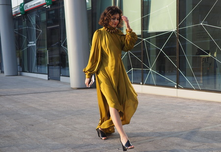 MILAN, Italy: February 20, 2019: Fashion blogger street style outfit before Alberta Ferretti fashion show during Milan fashion week Fall  winter 20192020