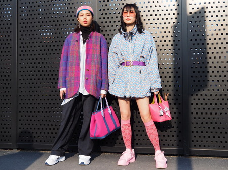 MILAN, Italy: February 20, 2019: Fashion bloggers street style outfits before Gucci fashion show during Milan fashion week Fall  winter 20192020 Editorial