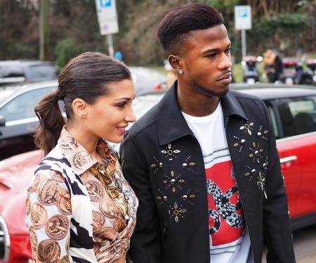 MILAN, Italy: February 23, 2019: Simona Guatieri and Balde Diao Keita street style outfits before Roberto Cavalli fashion show during Milan fashion week Fall / winter 2019/2020