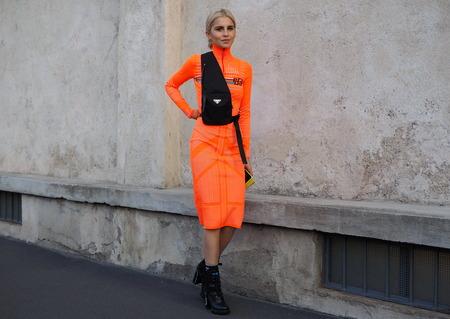 MILAN, Italy- SEPTEMBER 20, 2018: Caroline Daur street style outfit before PRADA fashion show, during Milan Fashion Week fall winter 20182019.