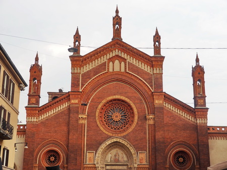 Chiesa del Carmine facade, in Milan district Brera, Lombardy, Italy. 写真素材