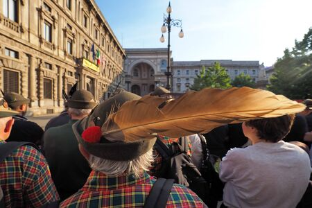 MILAN, ITALY, May 11, 2019: Alpini celebrating the national gathering in the