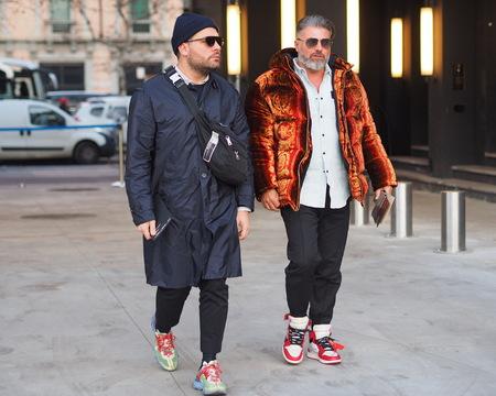 MILAN, Italy: 12 January 2019: Fashion bloggers street style outfits before Neil Barrett fashion show during Milan fashion week Man fall / winter 2019/2020. Sajtókép