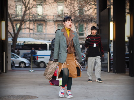MILANO, Italy: 12 January 2019: Fashion blogger street style outfit before Neil Barrett fashion show during Milan fashion week Man fall / winter 2019/2020.