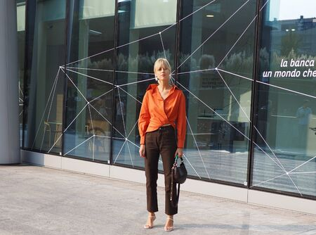 MILAN, Italy: 19 september 2018: Linda Tol street style outfit before Alberta Ferretti fashion show during Milan fashion week Fall / winter 2018/2019.