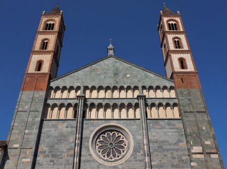 The facade of the Basilica of SantAndrea, Vercelli, Piedmont.