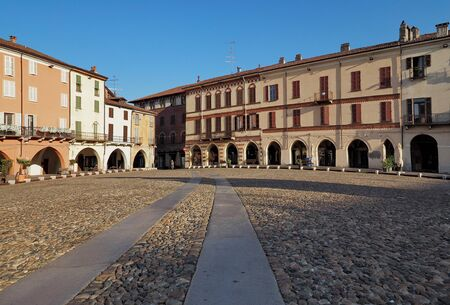 Cavour square in Vercelli, Piedmont, Italy. Stock Photo