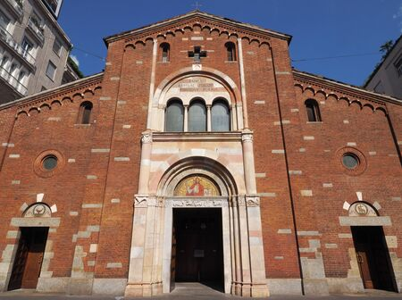 Entrance to San babila church, in Milan, Lombardy