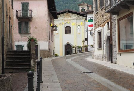 Street view in Serina, Brembana Valley, Bergamo. Stock Photo