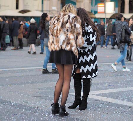 Touristes in Duomo square, Milan, Italy 写真素材