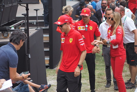 Monza, Italy: 5 September 2019: Driver Sebastien Vettel presented at fans on Monza circuit.