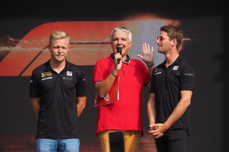 Monza, Italy: 5 September 2019: Kevin Magnussen and Roman Grosjean interviewed at a press conferenxe on Monza circuit.