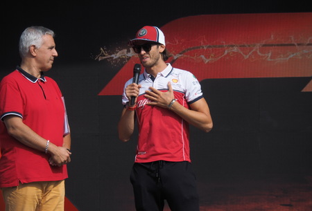 Monza, Italy: 5 September 2019: Driver Antonio Giovinazzi presented at fans on Monza circuit. Reklamní fotografie - 129584418