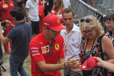 Monza, Italy: 5 September 2019: Driver Charles Leclerc presented at fans on Monza circuit.