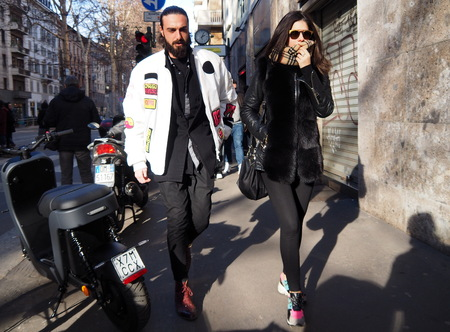 MILAN, Italy: 12 January 2019: Fashion bloggers street style outfits before DOLCE & GABBANA fashion show during Milan Fashion Week man Fall / winter 2019/2020