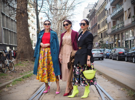MILAN, Italy: February 24, 2019: Fashion Bloggers street style outfits after Dolce & Gabbana fashion show during Milan fashion week Fall / winter 2019/2020 Editorial