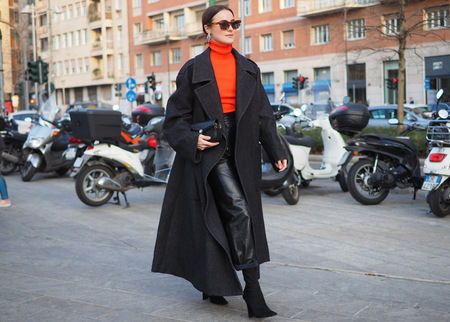 MILAN, Italy: February 20, 2019: Fashion blogger street style outfit before Alberta Ferretti fashion show during Milan fashion week Fall  winter