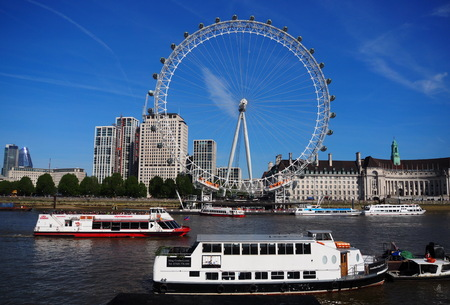 LONDON, UNITED KINGDOM: London Eye on May 13, 2019 in London, United Kingdom is the tallest Ferris wheel in Europe at 135 meters - Editorial