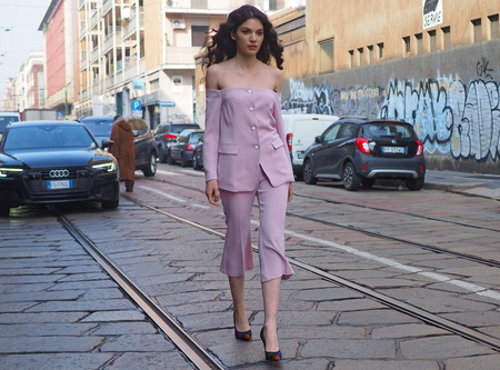 MILAN, Italy: February 20, 2019: Model street style outfit before Byblos fashion show during Milan fashion week Fall  winter 20192020.