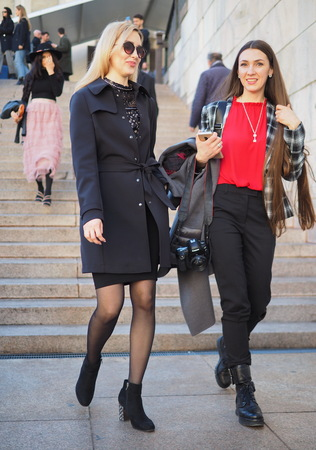 MILAN, Italy: February 22, 2019: Fashion bloggers in the street after Francesca Liberatore fashion show during Milan fashion week Fall  winter 20192020 Editorial
