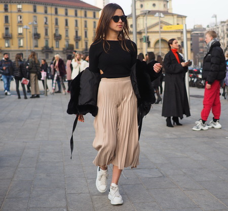 MILAN, Italy: 19 september 2018: Fashion blogger street style outfit before Alberta Ferretti fashion show during Milan fashion week Fall  winter 20182019.