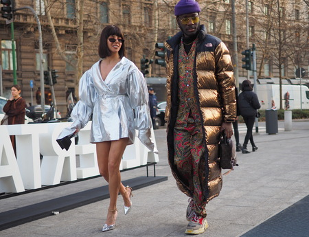 MILAN, Italy: February 20, 2019: Fashion bloggers street style outfits before Alberta Ferretti fashion show during Milan fashion week Fall  winter