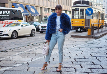 MILAN, Italy: February 22, 2019: Fashion blogger Carlotta Rubaltelli street style outfit before BLUMARINE fashion show during Milan fashion week Fall  winter 20192020