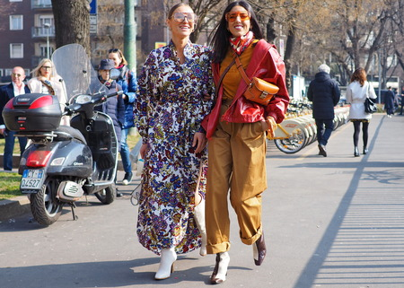 MILAN, Italy: February 21, 2019: Fashion bloggers street style outfits before Fendi fashion show during Milan fashion week Fall  winter 20192020 Editorial