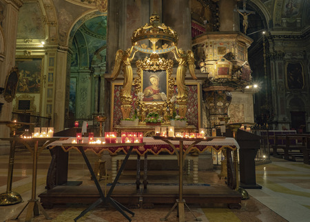MILAN, Italy: 10 February 2019: Lateral altar in SantAlessandro in Zebedia church built beetween 1601-1658.