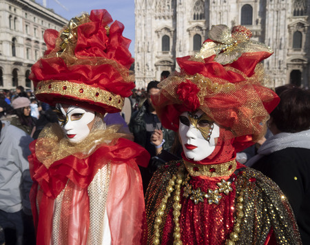 MILAN, Italy: 9 mars 2019: People in carnival outifts posing in Milan during carnival parade. Editorial