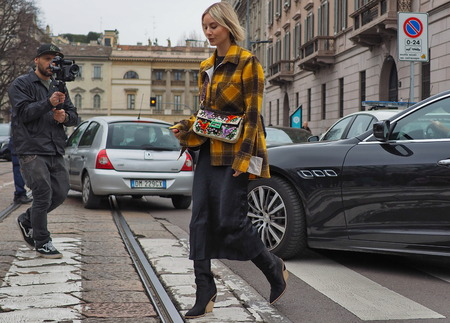 MILAN, Italy: February 23, 2019: Lisa Hahnbuck street style outfit before Roberto Cavalli fashion show during Milan fashion week Fall  winter 20192020