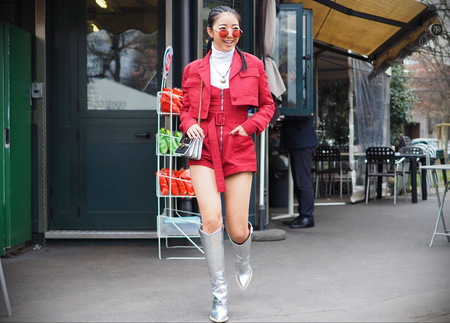 MILAN, Italy: February 23, 2019: Fashion blogger street style outfit before Roberto Cavalli fashion show during Milan fashion week Fall  winter 20192020