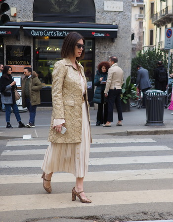 MILAN, Italy: 24 February 2019: Fashion blogger street style outfit after Dolce & Gabbana fashion show during Milan fashion week Fall  winter 20192020 Editorial