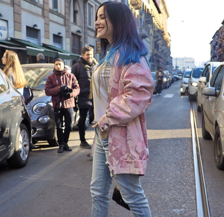 MILAN, Italy: 13 January 2019: Giulia Penna posing in street style outfit after JOHN RICHMOND fashion show, during Milan fashion week Man fall  winter 20192020 Editorial