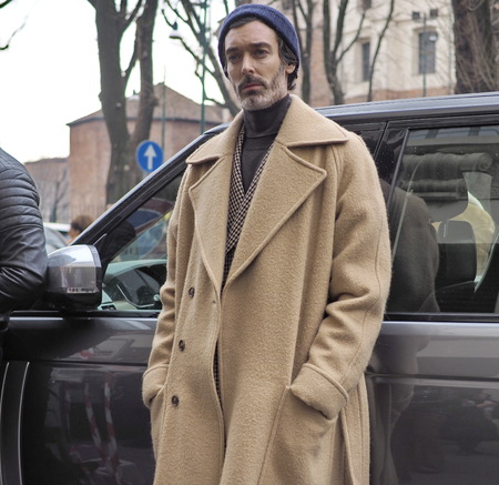 MILAN, Italy: 13 January 2019: RICHARD BIEDUL street style outfits before and after DAKS fashion show, during Milan fashion week Man fall  winter 20192020 Editorial