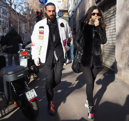 MILAN, Italy: February 20, 2019: Chiara Ferragni streetstyle outfit before Alberta Ferretti fashion show during Milan fashion week Fall  winter Editorial