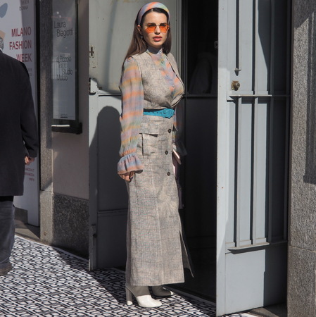MILAN, Italy: February 21, 2019: Fashion blogger street style outfit before Armani fashion show during Milan fashion week Fall  winter 20192020