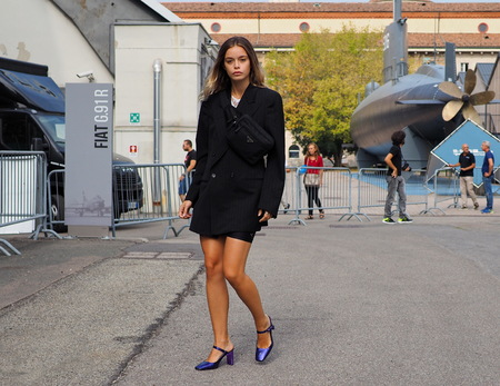 MILAN, Italy: September 22, 2018: Model posing for photographers after CIVIDINI fashion show during Milan fashion week fall  winter 20182019. 報道画像
