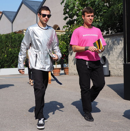 MILAN, Italy: September 22, 2018: Fashion bloggers street style outfits after CIVIDINI fashion show during Milan fashion week fall  winter 20182019.
