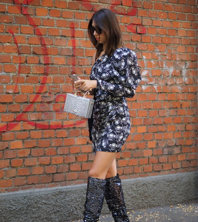 MILAN, Italy: 14 January 2019: Fashion bloggers street style outfits after FENDI fashion show during Milan Fashion Week man Fall  winter 20192020