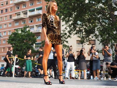 MILAN, Italy: 19 september 2018: Anna Dello Russo posing before Alberta Ferretti fashion show during Milan fashion week Fall  winter 20182019.