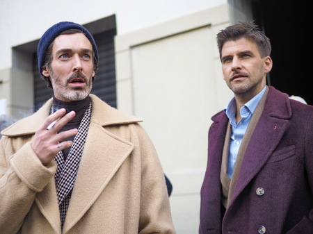 MILAN, Italy: 13 January 2019: RICHARD BIEDUL street style outfits before and after DAKS fashion show, during Milan fashion week Man fall  winter 20192020 報道画像